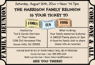 Reunion invitations zazzle fun ticket cut family reunion invitation stopboris Gallery