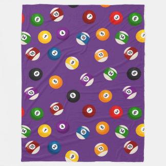 Fun tiled Billard sports pattern fleece blanket