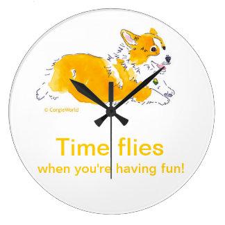 Fun Time Flies Corgi Clock