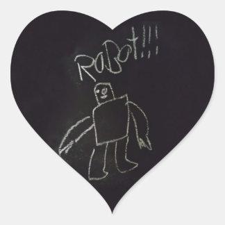 Fun time happy good chalk board Robot Heart Sticker