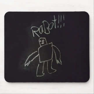 Fun time happy good chalk board Robot Mouse Pad