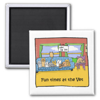 Fun Times at the Veterinarian 2 Inch Square Magnet