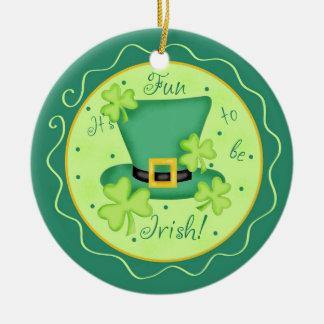 Fun to be Irish St. Parick's Day Shamrocks Ceramic Ornament