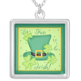 Fun to be Irish St. Parick's Day Shamrocks Silver Plated Necklace