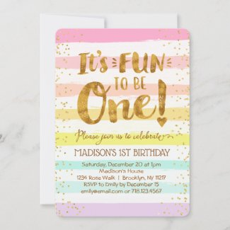 Fun to Be One Girls 1st Birthday Rainbow Gold Invitation