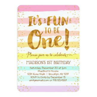 Fun to Be One Girls 1st Birthday Rainbow Gold Invitation