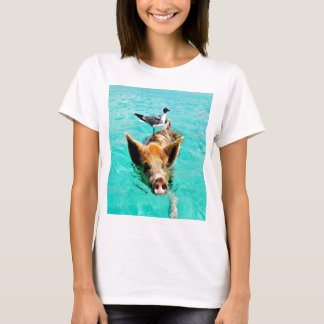 Fun together  staniel cay swimming pig seagull fis T-Shirt