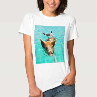 Fun together  staniel cay swimming pig seagull fis tee shirt