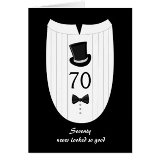 Fun Top Hat Formal 70th Birthday Greeting Card
