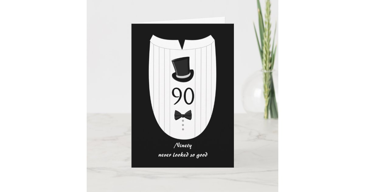 Fun Top Hat Formal 90th Birthday Greeting Card