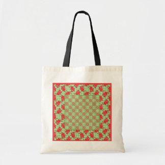 Fun Tote Bag: Cute Red Dragons, Green Gingham