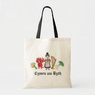Fun Tote Bag Welsh, Daffodils, Dragon, Leeks, Harp