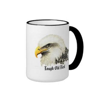 """Fun """"Tough old Bird"""" Humor Bald Eagle Bird Ringer Coffee Mug"""