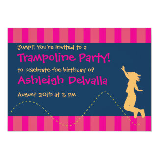 Fun Trampoline Birthday Party Invitations - Girls