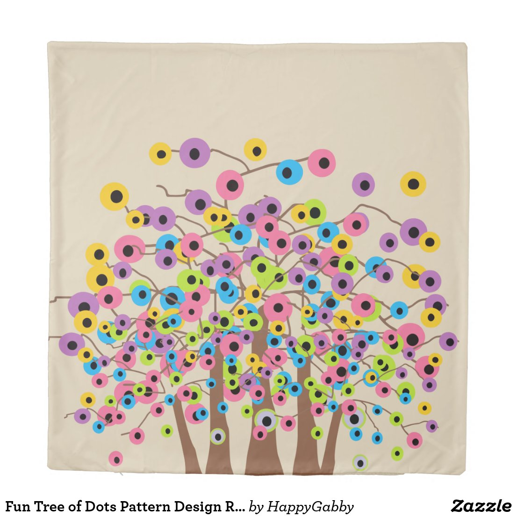 Tree of Dots Pattern Design Reversible Duvet Cover