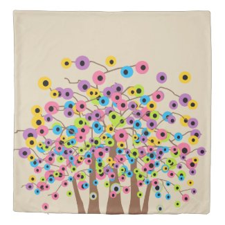 Tree of Dots Pattern Design Reversible Duvet Cover