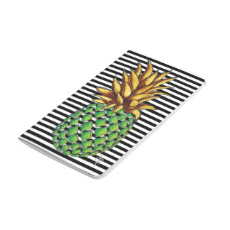 Fun Trendy Gold & Green Pineapple Stripes Journal