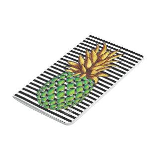 Fun Trendy Gold & Green Pineapple Stripes Journal