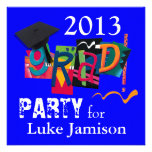 Fun Trendy Modern 2013 Grad Bowling Party | blue Invitation