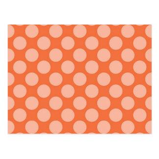 Fun Trendy Orange Polka Dots Pattern on Orange Postcard