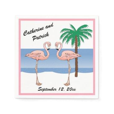 Beach Themed Fun Tropical Beach Pink Flamingo Palm Tree Wedding Paper Napkin