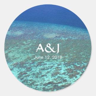 Fun Tropical Blue Ocean Coral Reef Custom Wedding Classic Round Sticker