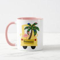 Fun Tropical Christmas Tree Farm with Flamingo Mug