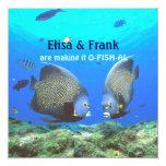 """Fun Tropical Fish Love Wedding Invitation 5.25"""" Square Invitation Card"""