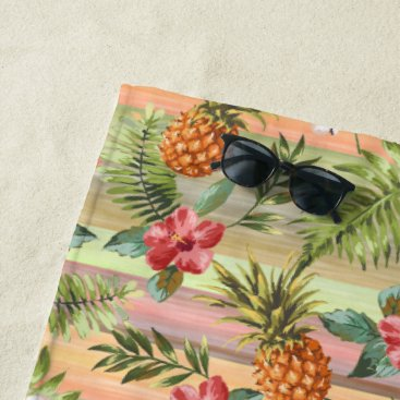 Beach Themed Fun Tropical Pineapple Fruit Floral Pattern Beach Towel
