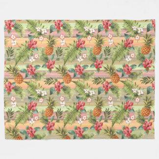 Fun Tropical Pineapple Fruit Floral Stripe Pattern Fleece Blanket