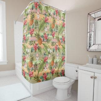 Fun Tropical Pineapple Fruit Floral Stripe Pattern Shower Curtain