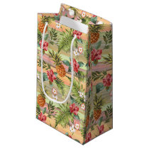 Fun Tropical Pineapple Fruit Floral Stripe Pattern Small Gift Bag