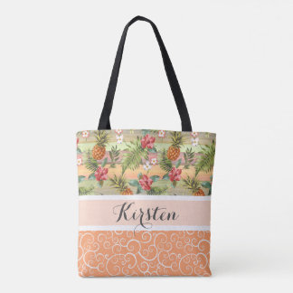 Fun Tropical Pineapple Fruit Floral Stripe Pattern Tote Bag