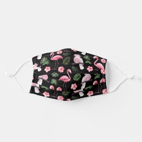 Fun Tropical Pink Flamingos and Pink Birds Pattern Adult Cloth Face Mask