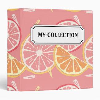Fun Tropical Pink grapefruit and lemon pattern 3 Ring Binder