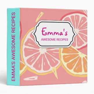 Fun Tropical Pink grapefruit and lemon pattern Binder