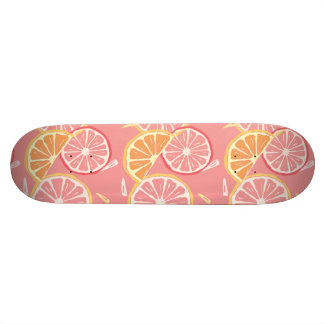 Fun Tropical Pink grapefruit and lemon pattern Skateboard