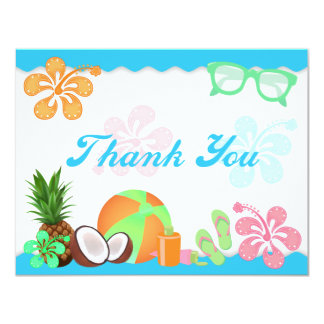 Fun Tropical Thank You Note Cards Personalized Invitation