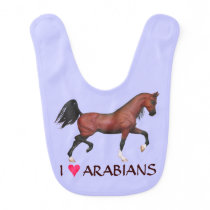 Fun Trotting Bay Horse I Love Arabians Baby Bib