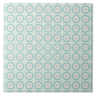 Fun Turquoise and Green Floral Pattern Ceramic Tile