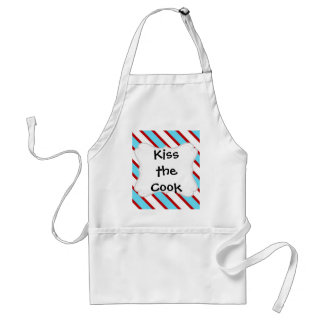Fun Turquoise Blue Red and White Diagonal Stripes Adult Apron