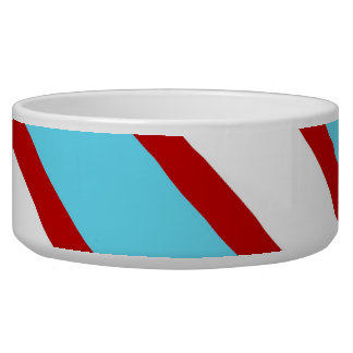 Fun Turquoise Blue Red and White Diagonal Stripes Bowl