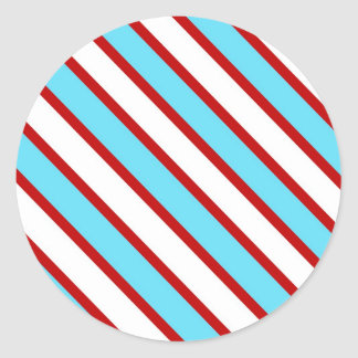 Fun Turquoise Blue Red and White Diagonal Stripes Classic Round Sticker