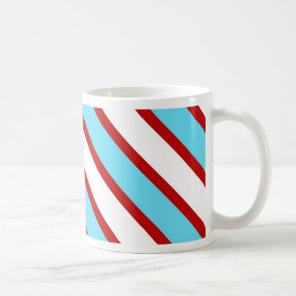 Fun Turquoise Blue Red and White Diagonal Stripes Coffee Mug