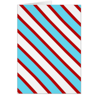 Fun Turquoise Blue Red and White Diagonal Stripes Greeting Card