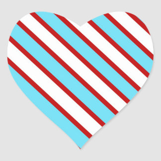 Fun Turquoise Blue Red and White Diagonal Stripes Heart Sticker