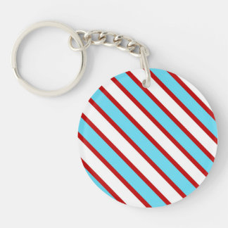 Fun Turquoise Blue Red and White Diagonal Stripes Double-Sided Round Acrylic Keychain