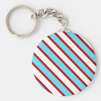Fun Turquoise Blue Red and White Diagonal Stripes Basic Round Button Keychain