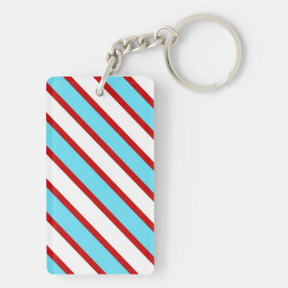 Fun Turquoise Blue Red and White Diagonal Stripes Double-Sided Rectangular Acrylic Keychain