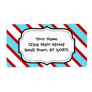 Fun Turquoise Blue Red and White Diagonal Stripes Label